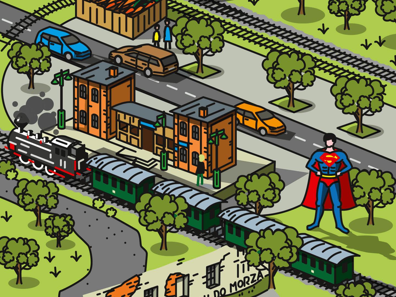 ilustracja przedstawiająca Dworzec w Kolejkowie oraz Supermana